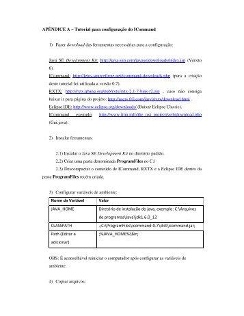 APÊNDICE A – Tutorial para configuração do ICommand 1) Fazer ...