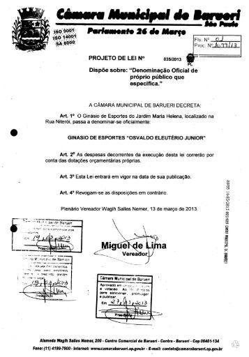Projeto de Lei nº 35/2013 - Câmara Municipal de Barueri
