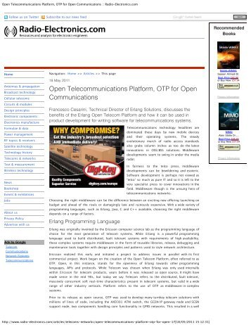 Open Telecommunications Platform, OTP for ... - Erlang Solutions