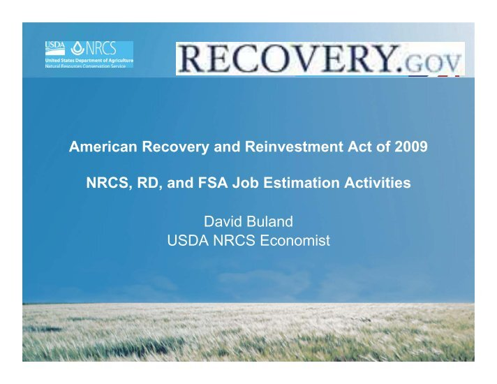 american recovery and reinvestment act of