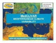 MedCLIVAR MEDITERRANEAN CLIMATE VARIABILITY