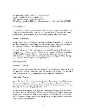 MONDAY LECTURES   Department of English   New York University NYU Creative Writing Program