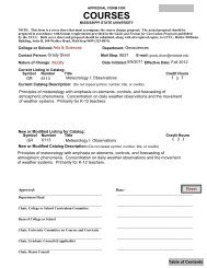 COURSES - Department of Geosciences - Mississippi State University