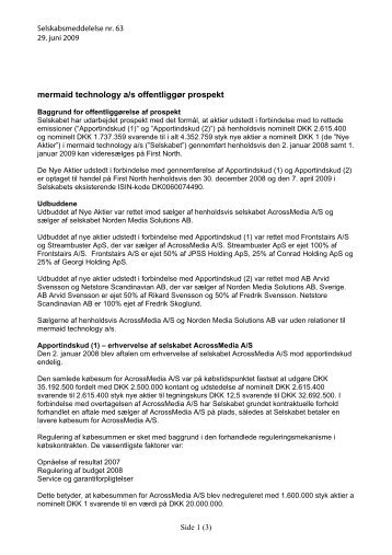 mermaid technology a/s offentliggør prospekt