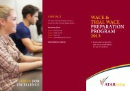 WACE & TRIAL WACE PREPARATION PROGRAM 2013