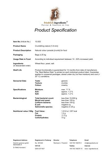 Product Specification - Friedrich Ingredients