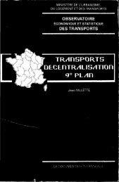 Transport, décentralisation, 9ème plan. - Temis