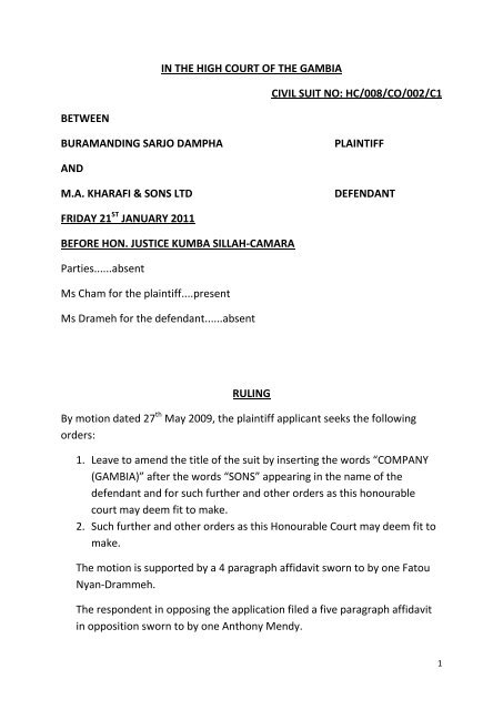 Ruling Buramanding Sarjo Dampha vs MA Kharafi Sons Three