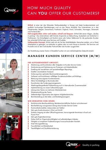 manager kunden service center (m/w) - DuesseldorfJobs24.de