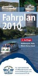 Fahrplan - Weiße Flotte Baldeney