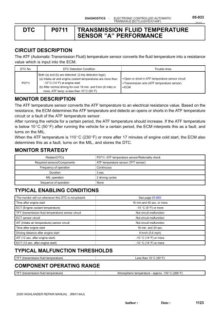 dtc p0711 transmission fluid temperature sensor