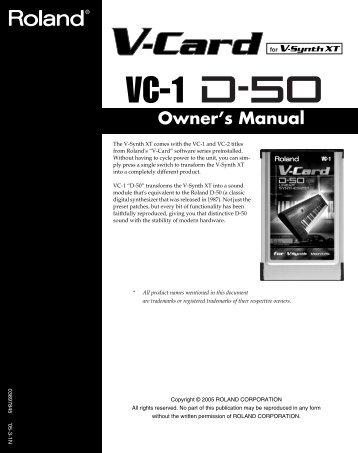 Owner's Manual - Roland Corporation US