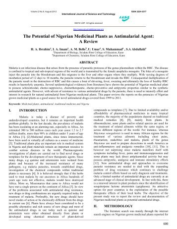 The Potential of Nigerian Medicinal Plants as Antimalarial Agent: A ...