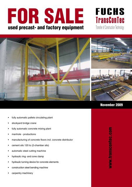 used precast- and factory equipment