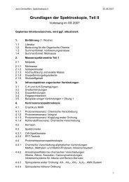 Grundlagen der Spektroskopie, Teil II - Organische Chemie ...