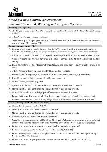 Standard Risk Control Arrangements Resident Liaison & Working in ...