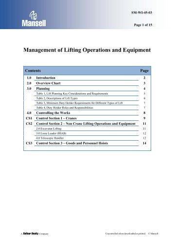 Management of Lifting Operations and Equipment - to return to the ...