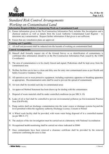 Standard Risk Control Arrangements Working on Contaminated Land