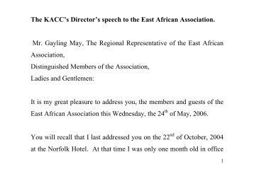 The KACC's Director's speech to the East African Association. Mr ...