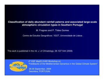 Classification of daily abundant rainfall paterns and ... - Medclivar