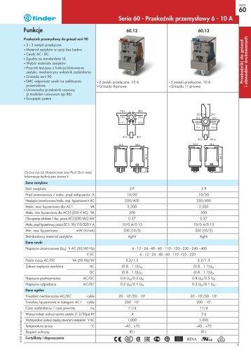 Funkcje Seria 60 - Przekaęnik przemysłowy 6 - 10 A - G-Finder