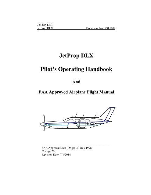 JetProp DLX Pilot S Operating Handbook JetPROP DL And DLX