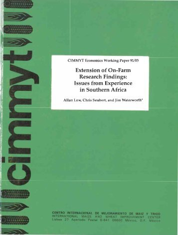 Extension of On-Farm Research Findings: Issues from ... - Cimmyt