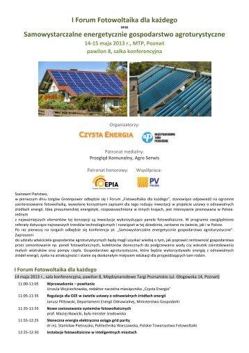 I Forum Fotowoltaika dla każdego - Greenpower - Międzynarodowe ...