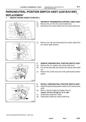 park neutral position switch assy u241e u140f highlander club?quality=85 automatic transaxle assy (u241e u140f) highlander club U140F Final Drive Unit at gsmportal.co