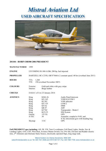 201104 - PRESIDENT - Mistral Aviation