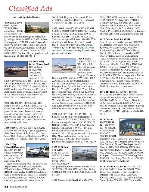 Classified Ads - Twin Cessna Flyer