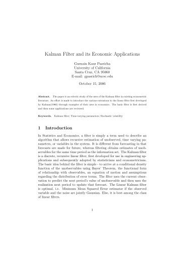 Kalman Filter and its Economic Applications - Angelfire