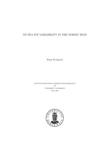 ON SEA ICE VARIABILITY IN THE NORDIC SEAS