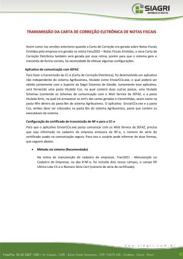 TRANSMISSÃO DA CARTA DE CORREÇÃO ELETRÔNICA ... - Siagri