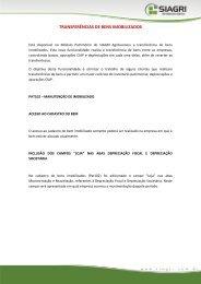TRANSFERÊNCIAS DE BENS IMOBILIZADOS - Siagri