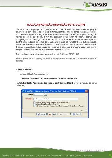 NOVA CONFIGURAÇÃO TRIBUTAÇÃO DE PIS E COFINS - Siagri