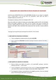 adequação dos cadastros às novas regras de validação - Siagri
