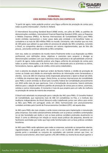 ECONOMIA: UMA NORMA PARA 99,9% DAS EMPRESAS - Siagri