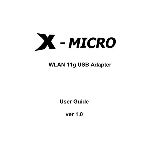 X MICRO WLAN 11G USB ADAPTER DRIVERS DOWNLOAD