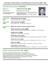 CV of Edwin TANG - Hong Kong Institute of Surveyors