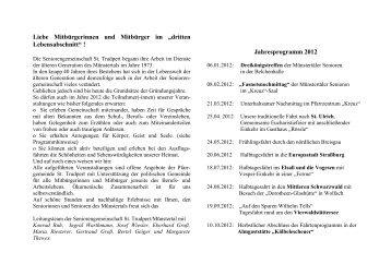 Jahresprogramm 2012 - Pfarrgemeinde St. Trudpert