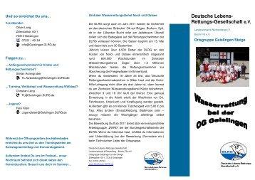 Faltblatt Wasserrettung Wölkbad - DLRG Ortsgruppe Geislingen