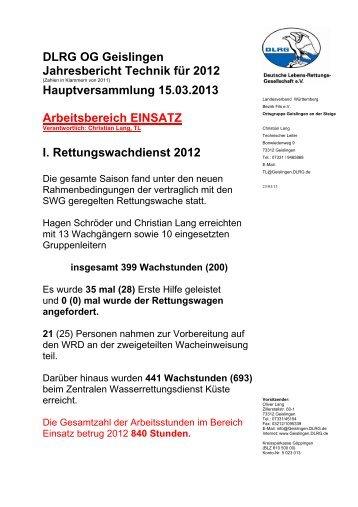 Technik 2012 - DLRG Ortsgruppe Geislingen