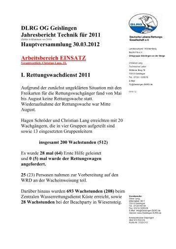 Technik 2011 - DLRG Ortsgruppe Geislingen