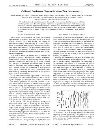 Collisional Decoherence Observed in Matter Wave Interferometry vg