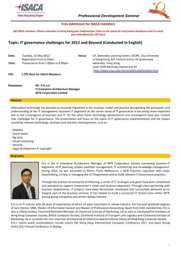 IT governance challenges for 2012 and Beyond - The Hong Kong ...