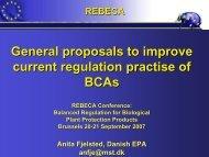 General proposals to improve current regulation practice. - REBECA