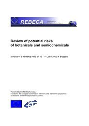 Review of potential risks of botanicals and semiochemicals - REBECA