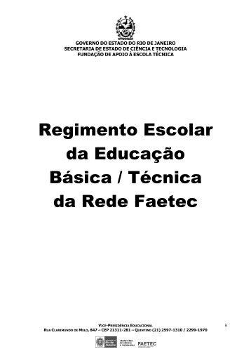 Regimento Escolar da Educação Básica / Técnica da Rede Faetec