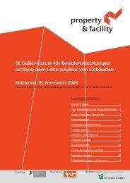 St.Galler Forum für Baudienstleistungen entlang dem Lebenszyklus ...